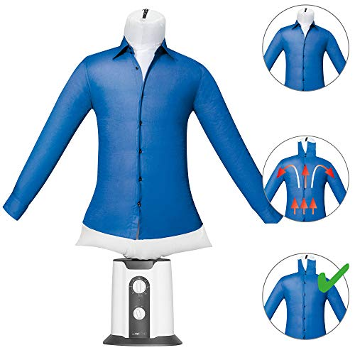 Clatronic HBB 3707 Bügelpuppe für den Heimgebrauch, automatisches Trocknen, Hemdbügler und Wäschetrockner, Timer 180 Minuten, 2 Temperaturstufen, 850 W
